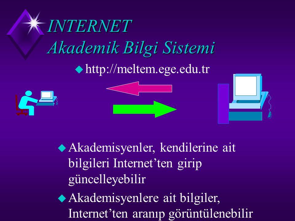 INTERNET Akademik Bilgi Sistemi u http://meltem.ege.edu.tr u Akademisyenler, kendilerine ait bilgileri Internet'ten girip güncelleyebilir  Akademisye