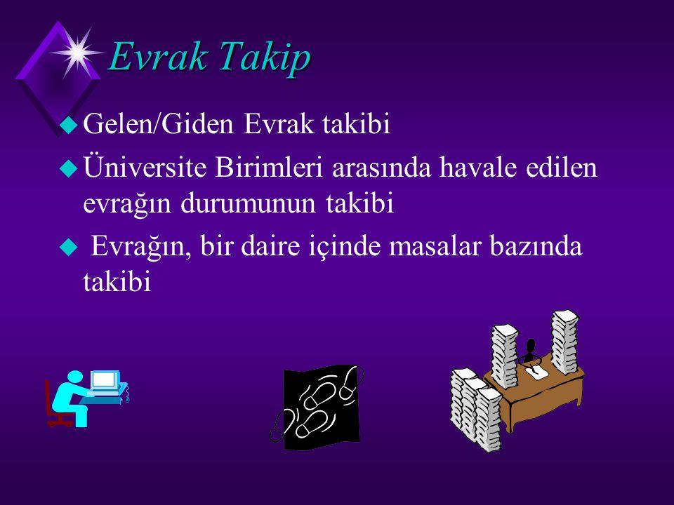 Evrak Takip  Gelen/Giden Evrak takibi  Üniversite Birimleri arasında havale edilen evrağın durumunun takibi  Evrağın, bir daire içinde masalar bazı