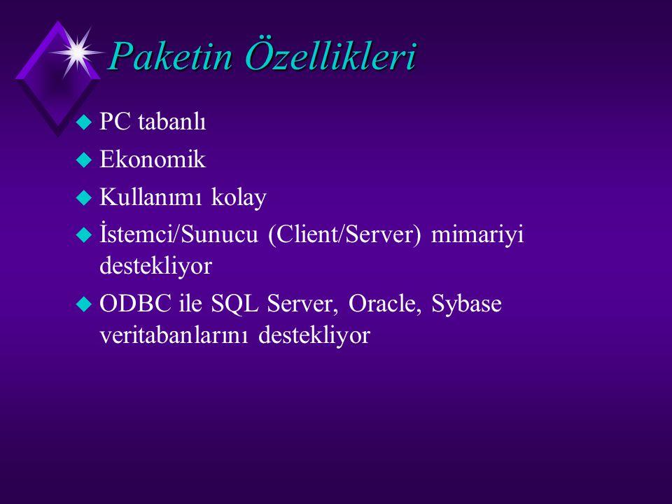 Paketin Özellikleri u PC tabanlı  Ekonomik u Kullanımı kolay  İstemci/Sunucu (Client/ Server) mimariyi destekliyor u ODBC ile SQL Server, Oracle, Sy