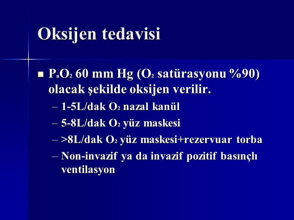 Oksijen tedavisi P a O 2 60 mm Hg (O 2 satürasyonu %90) olacak şekilde oksijen verilir. P a O 2 60 mm Hg (O 2 satürasyonu %90) olacak şekilde oksijen
