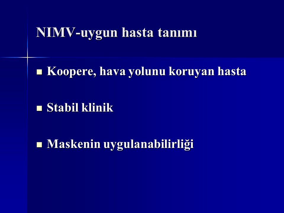 NIMV-uygun hasta tanımı Koopere, hava yolunu koruyan hasta Koopere, hava yolunu koruyan hasta Stabil klinik Stabil klinik Maskenin uygulanabilirliği M