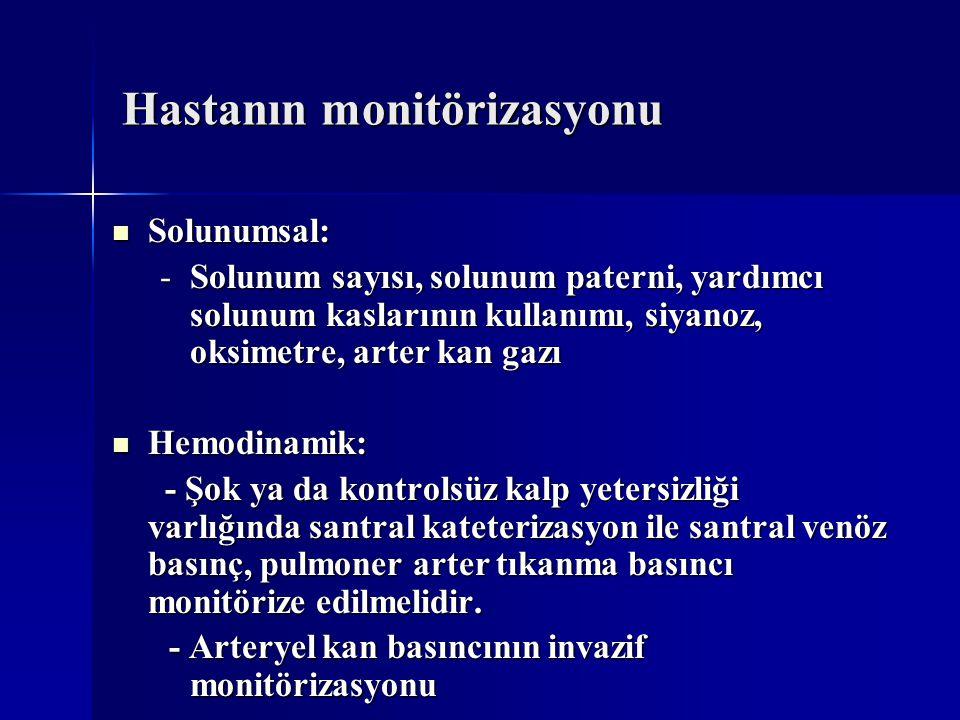 Hastanın monitörizasyonu Solunumsal: Solunumsal: -Solunum sayısı, solunum paterni, yardımcı solunum kaslarının kullanımı, siyanoz, oksimetre, arter ka