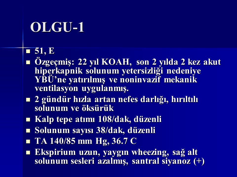 OLGU-1 51, E 51, E Özgeçmiş: 22 yıl KOAH, son 2 yılda 2 kez akut hiperkapnik solunum yetersizliği nedeniye YBÜ'ne yatırılmış ve noninvazif mekanik ven