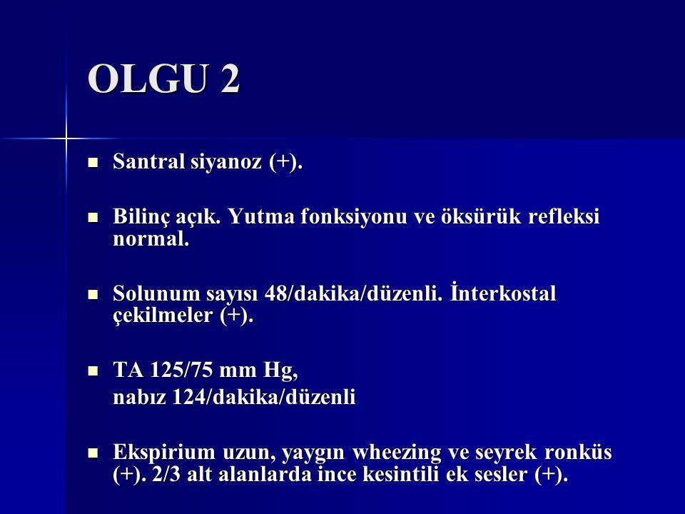 OLGU 2 Santral siyanoz (+). Santral siyanoz (+). Bilinç açık. Yutma fonksiyonu ve öksürük refleksi normal. Bilinç açık. Yutma fonksiyonu ve öksürük re