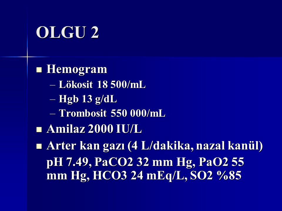 OLGU 2 Hemogram Hemogram –Lökosit 18 500/mL –Hgb 13 g/dL –Trombosit 550 000/mL Amilaz 2000 IU/L Amilaz 2000 IU/L Arter kan gazı (4 L/dakika, nazal kan