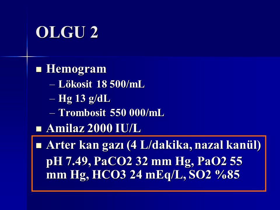 OLGU 2 Hemogram Hemogram –Lökosit 18 500/mL –Hg 13 g/dL –Trombosit 550 000/mL Amilaz 2000 IU/L Amilaz 2000 IU/L Arter kan gazı (4 L/dakika, nazal kanü