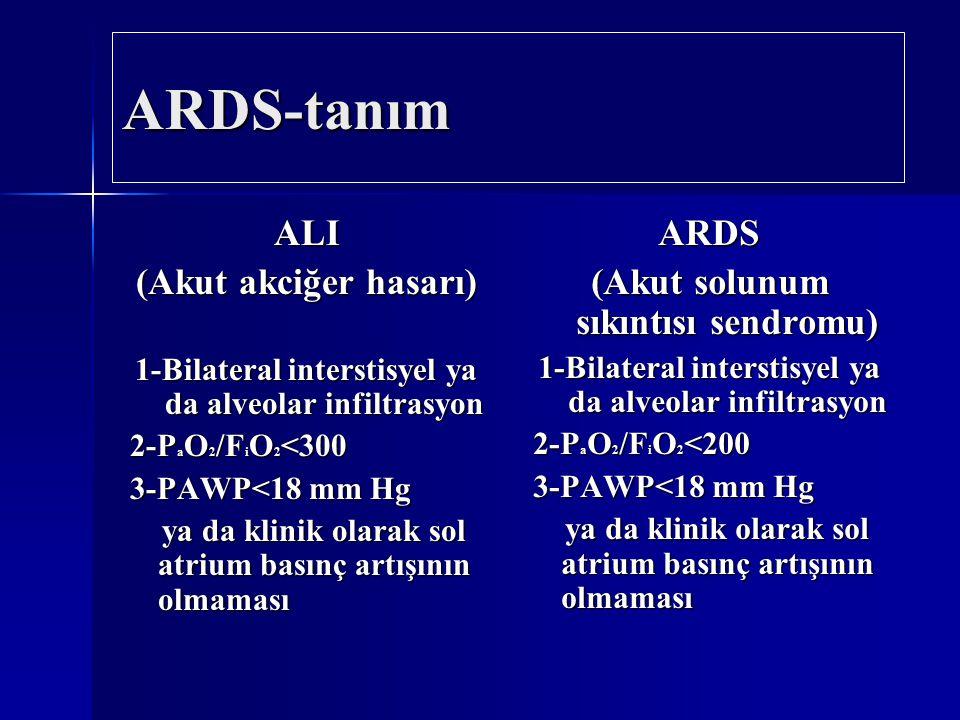 ARDS-tanım ALI (Akut akciğer hasarı) 1-Bilateral interstisyel ya da alveolar infiltrasyon 2-P a O 2 /F i O 2 <300 2-P a O 2 /F i O 2 <300 3-PAWP<18 mm