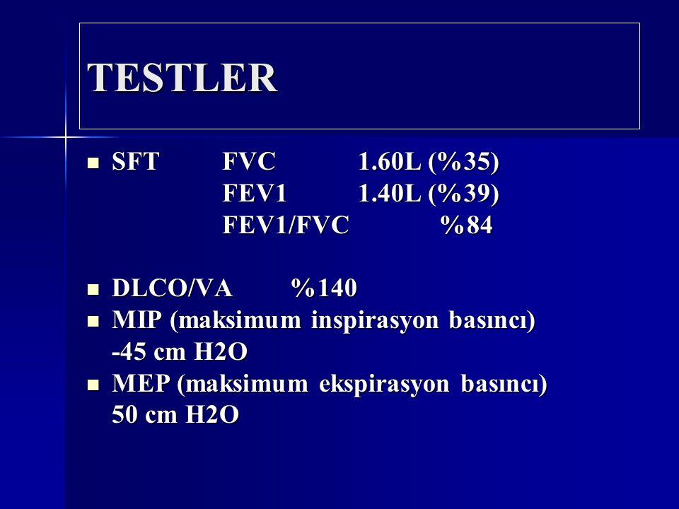 TESTLER SFT FVC 1.60L (%35) SFT FVC 1.60L (%35) FEV1 1.40L (%39) FEV1/FVC %84 DLCO/VA%140 DLCO/VA%140 MIP (maksimum inspirasyon basıncı) MIP (maksimum