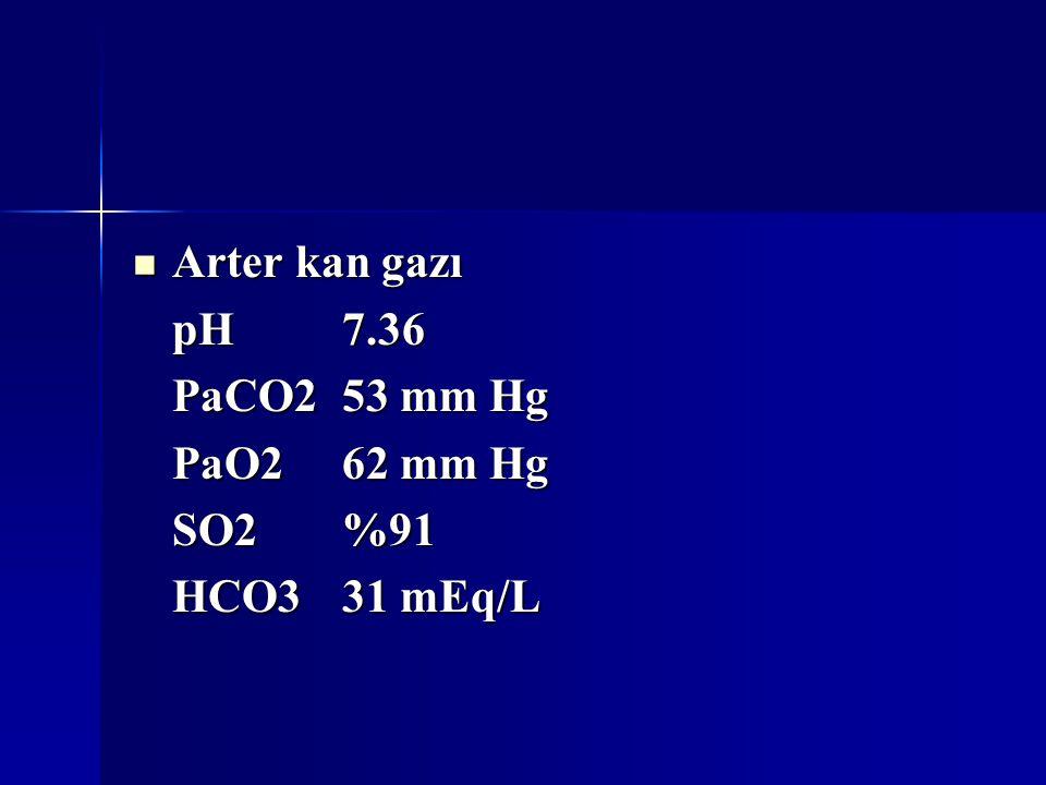 Arter kan gazı Arter kan gazı pH7.36 PaCO253 mm Hg PaO262 mm Hg SO2%91 HCO331 mEq/L