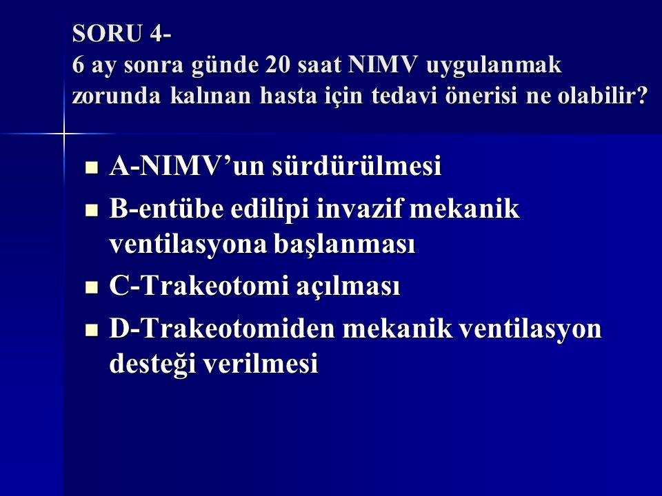 SORU 4- 6 ay sonra günde 20 saat NIMV uygulanmak zorunda kalınan hasta için tedavi önerisi ne olabilir? A-NIMV'un sürdürülmesi A-NIMV'un sürdürülmesi