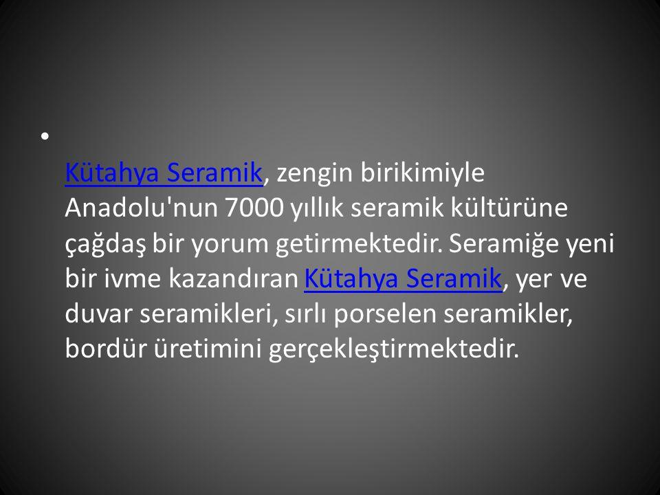 Kütahya Seramik, zengin birikimiyle Anadolu'nun 7000 yıllık seramik kültürüne çağdaş bir yorum getirmektedir. Seramiğe yeni bir ivme kazandıran Kütahy