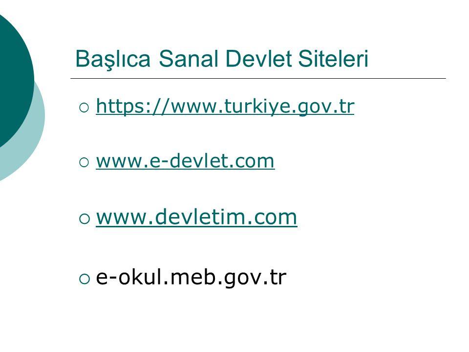 Başlıca Sanal Devlet Siteleri  https://www.turkiye.gov.tr https://www.turkiye.gov.tr  www.e-devlet.com www.e-devlet.com  www.devletim.com www.devle