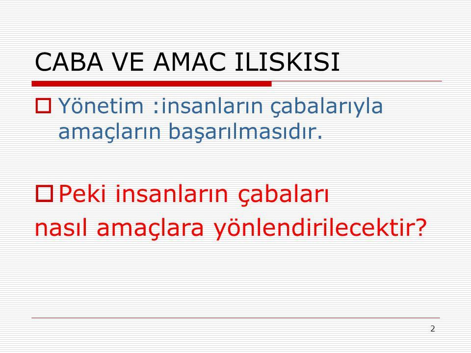 CABA VE AMAC ILISKISI  Yönetim :insanların çabalarıyla amaçların başarılmasıdır.