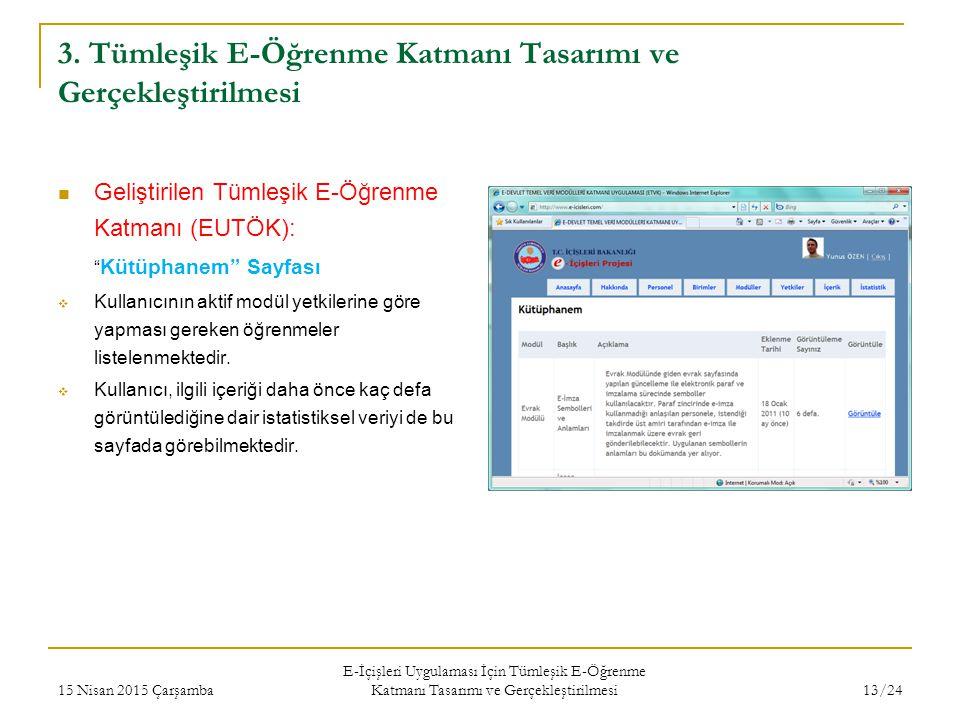 """3. Tümleşik E-Öğrenme Katmanı Tasarımı ve Gerçekleştirilmesi Geliştirilen Tümleşik E-Öğrenme Katmanı (EUTÖK): """" Kütüphanem"""" Sayfası  Kullanıcının akt"""