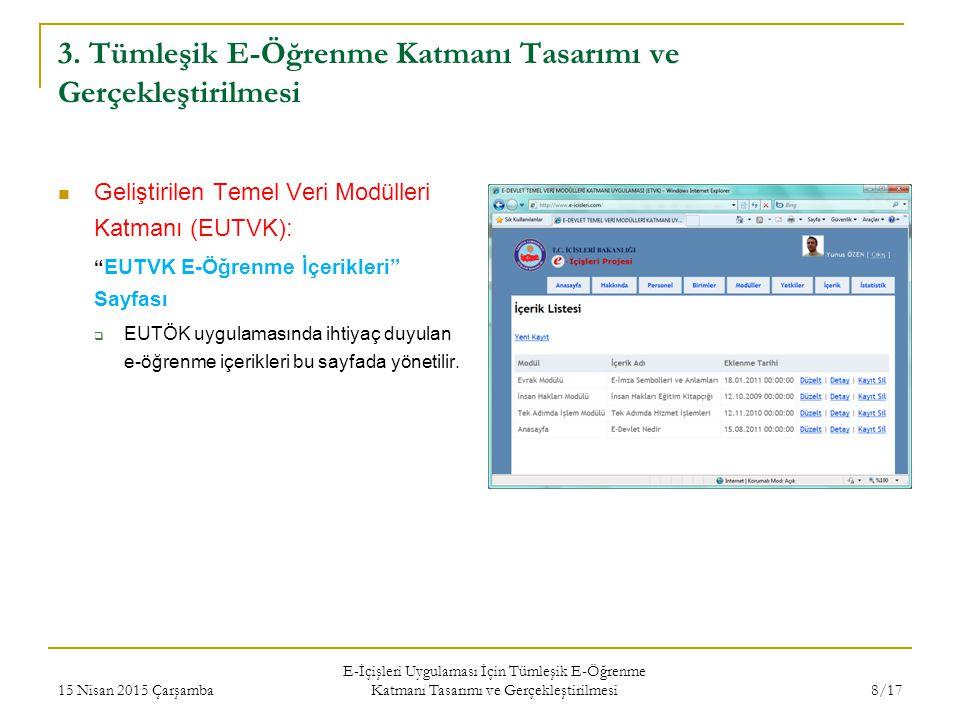"""3. Tümleşik E-Öğrenme Katmanı Tasarımı ve Gerçekleştirilmesi Geliştirilen Temel Veri Modülleri Katmanı (EUTVK): """" EUTVK E-Öğrenme İçerikleri"""" Sayfası"""
