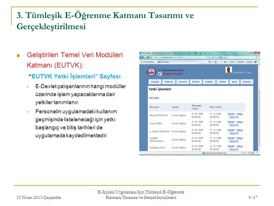 """3. Tümleşik E-Öğrenme Katmanı Tasarımı ve Gerçekleştirilmesi Geliştirilen Temel Veri Modülleri Katmanı (EUTVK): """"EUTVK Yetki İşlemleri"""" Sayfası  E-De"""