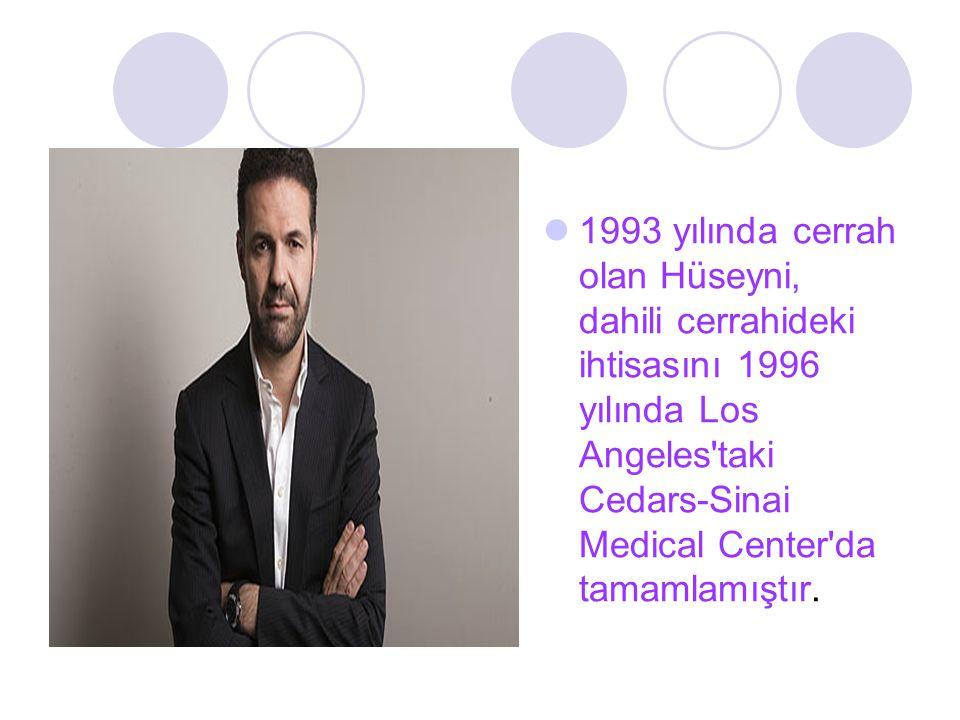 1993 yılında cerrah olan Hüseyni, dahili cerrahideki ihtisasını 1996 yılında Los Angeles taki Cedars-Sinai Medical Center da tamamlamıştır.
