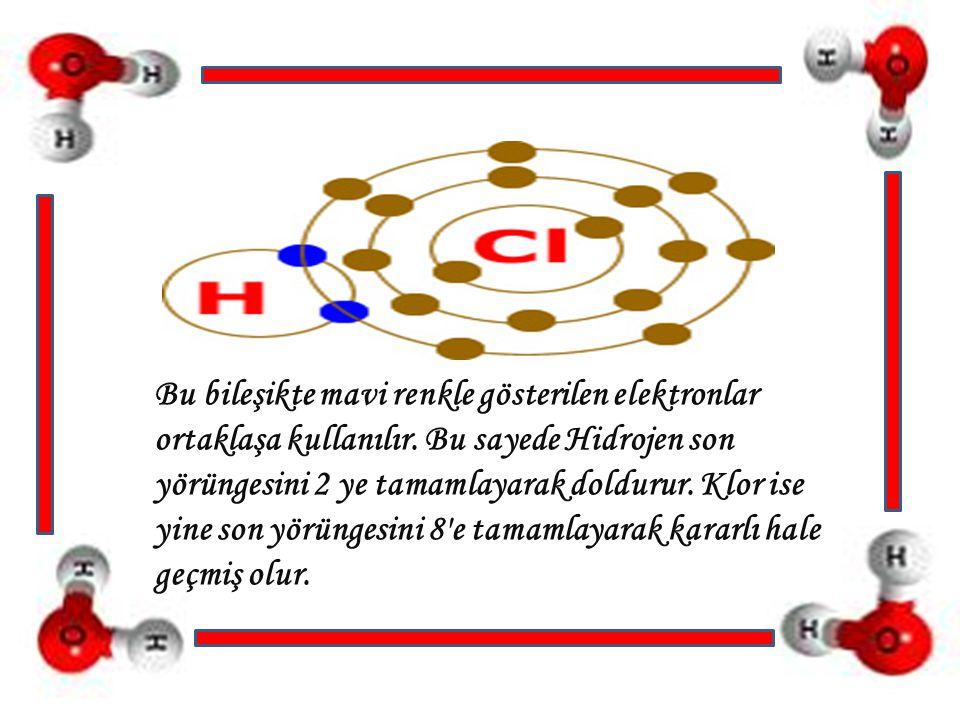 Bu bileşikte mavi renkle gösterilen elektronlar ortaklaşa kullanılır. Bu sayede Hidrojen son yörüngesini 2 ye tamamlayarak doldurur. Klor ise yine son