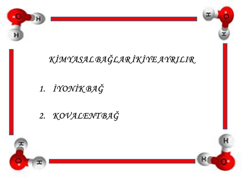 1.İYONİK BAĞ İyonik bağ metal elementlerle ametal elementler arasında gerçekleşir.