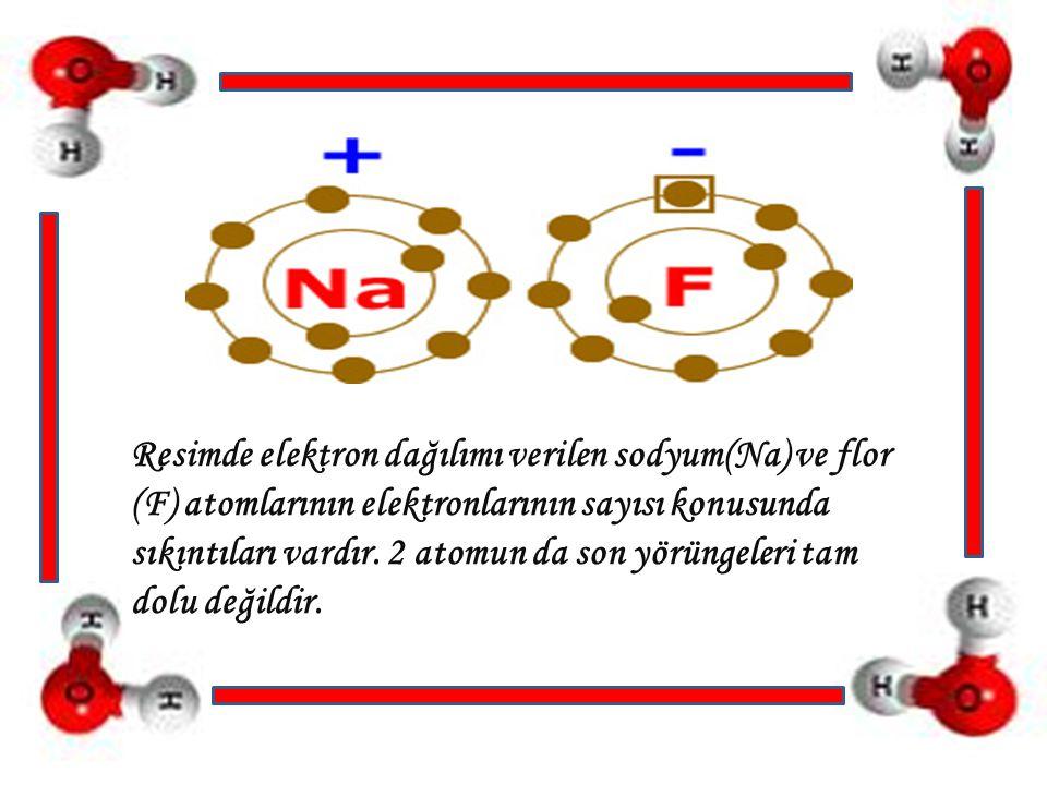 Sodyum: Ya 7 elektron alarak son yörüngesini 8′e tamamlamalı ya da son yörüngesindeki 1 elektronu atarak 2 yörüngeli hale gelmelidir.