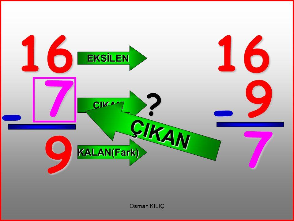 16 - 9 EKSİLEN ÇIKAN KALAN(Fark) 16 9 - 7 ? ÇIKAN 7