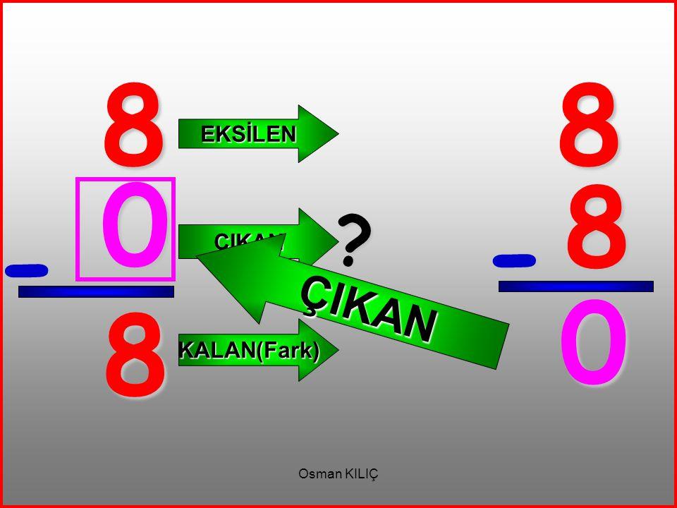 8 - 8 EKSİLEN ÇIKAN KALAN(Fark) 8 8 - 0 ? ÇIKAN 0