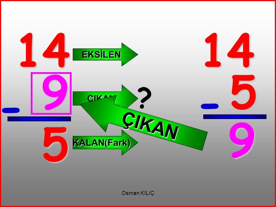 14 - 5 EKSİLEN ÇIKAN KALAN(Fark) 14 5 - 9 ? ÇIKAN 9