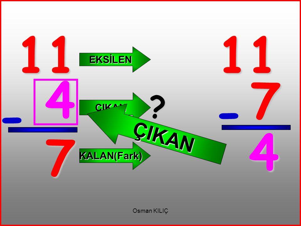11 - 7 EKSİLEN ÇIKAN KALAN(Fark) 11 7 - 4 ? ÇIKAN 4