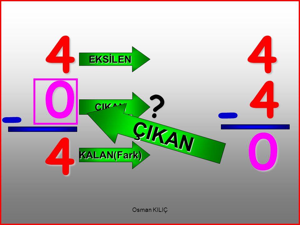 4 - 4 EKSİLEN ÇIKAN KALAN(Fark) 4 4 - 0 ? ÇIKAN 0