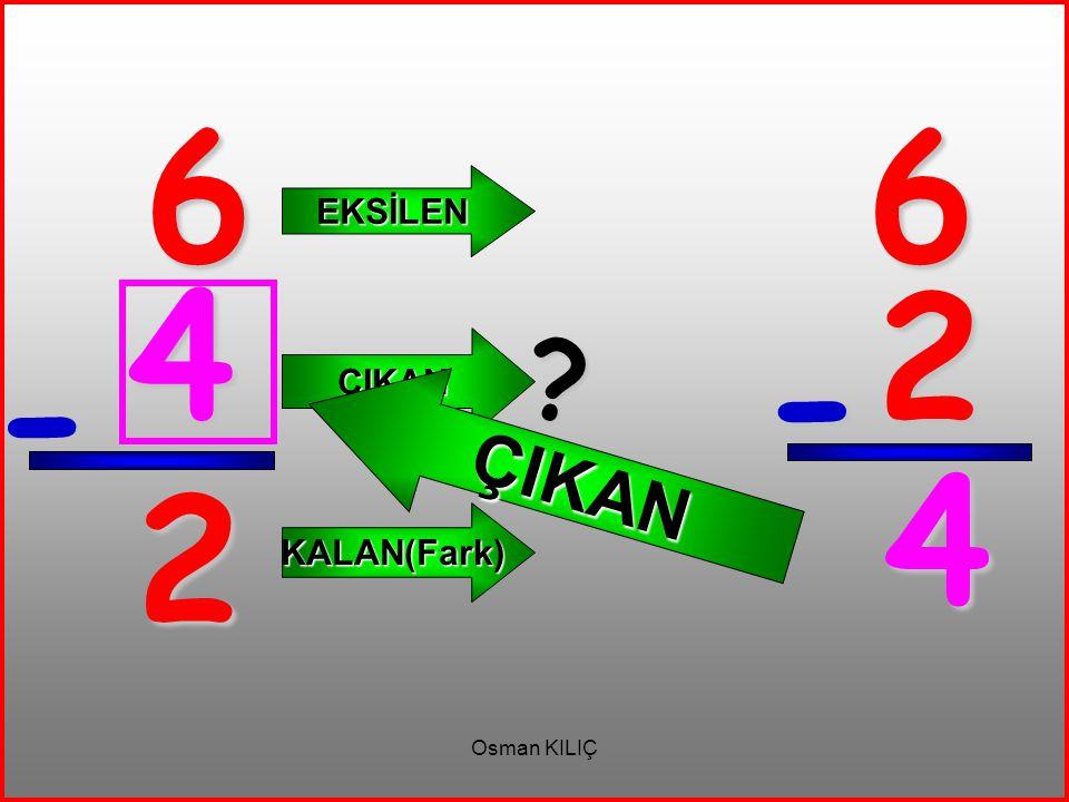 6 - 2 EKSİLEN ÇIKAN KALAN(Fark) 6 2 - 4 ? ÇIKAN 4