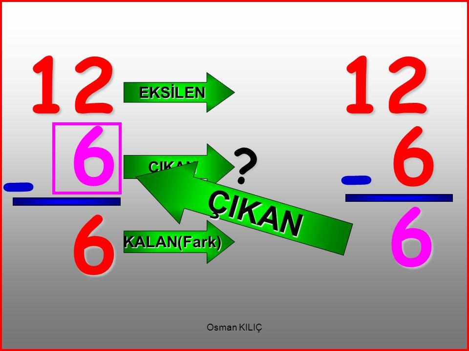 12 - 6 EKSİLEN ÇIKAN KALAN(Fark) 12 6 - 6 ? ÇIKAN 6