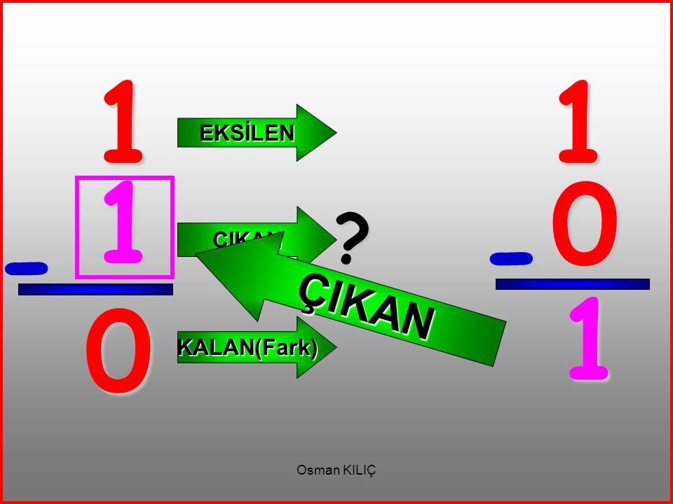 3 - 3 EKSİLEN ÇIKAN KALAN(Fark) 3 3 - 0 ? ÇIKAN 0