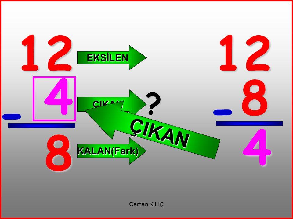 12 - 8 EKSİLEN ÇIKAN KALAN(Fark) 12 8 - 4 ? ÇIKAN 4