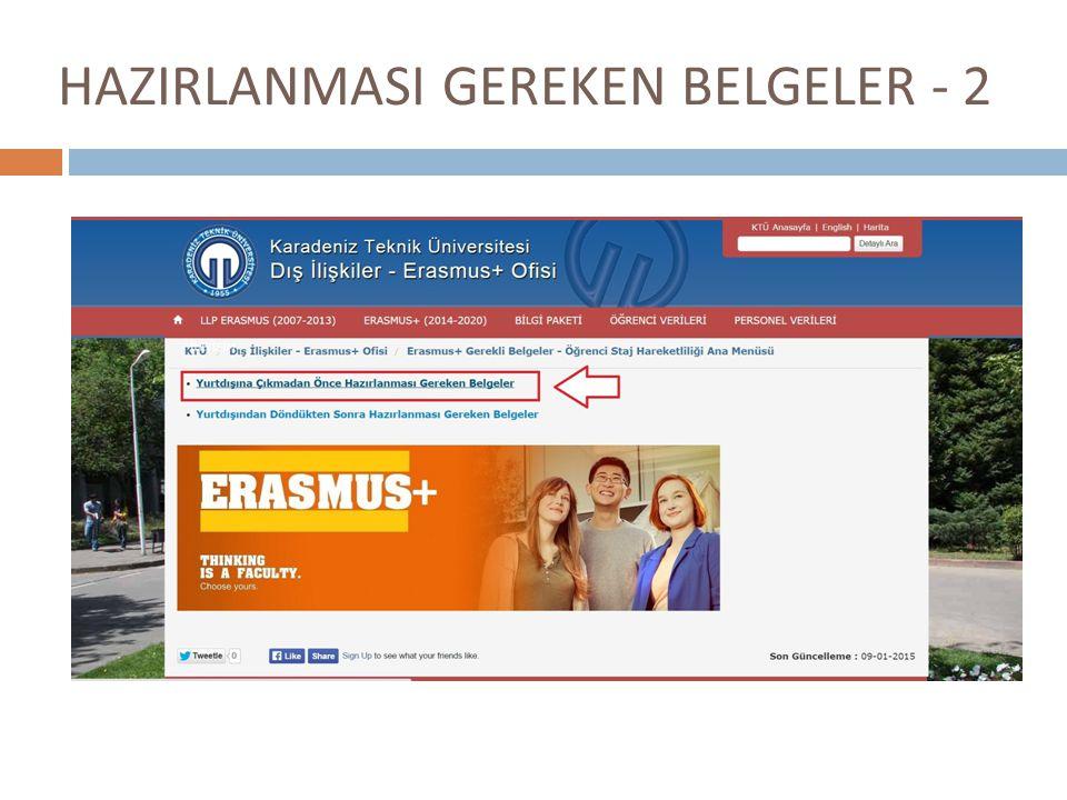 HAZIRLANMASI GEREKEN BELGELER - 2