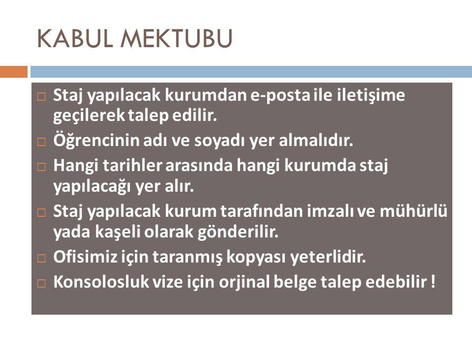 KABUL MEKTUBU  Staj yapılacak kurumdan e-posta ile iletişime geçilerek talep edilir.  Öğrencinin adı ve soyadı yer almalıdır.  Hangi tarihler arası