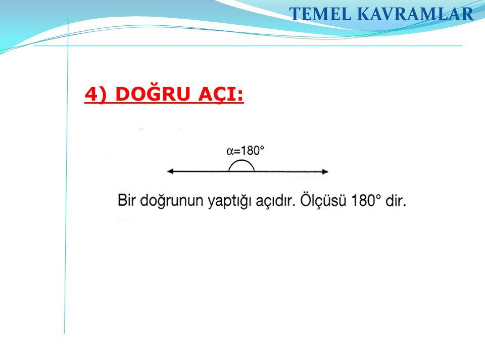 TEMEL KAVRAMLAR 4) DOĞRU AÇI: