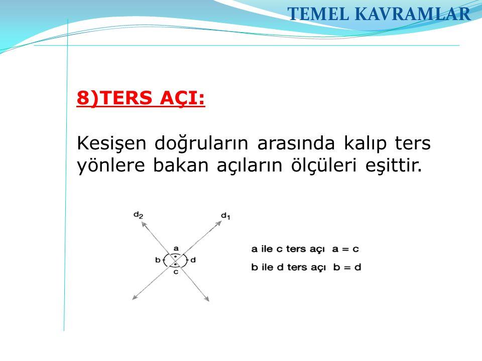 TEMEL KAVRAMLAR 8)TERS AÇI: Kesişen doğruların arasında kalıp ters yönlere bakan açıların ölçüleri eşittir.
