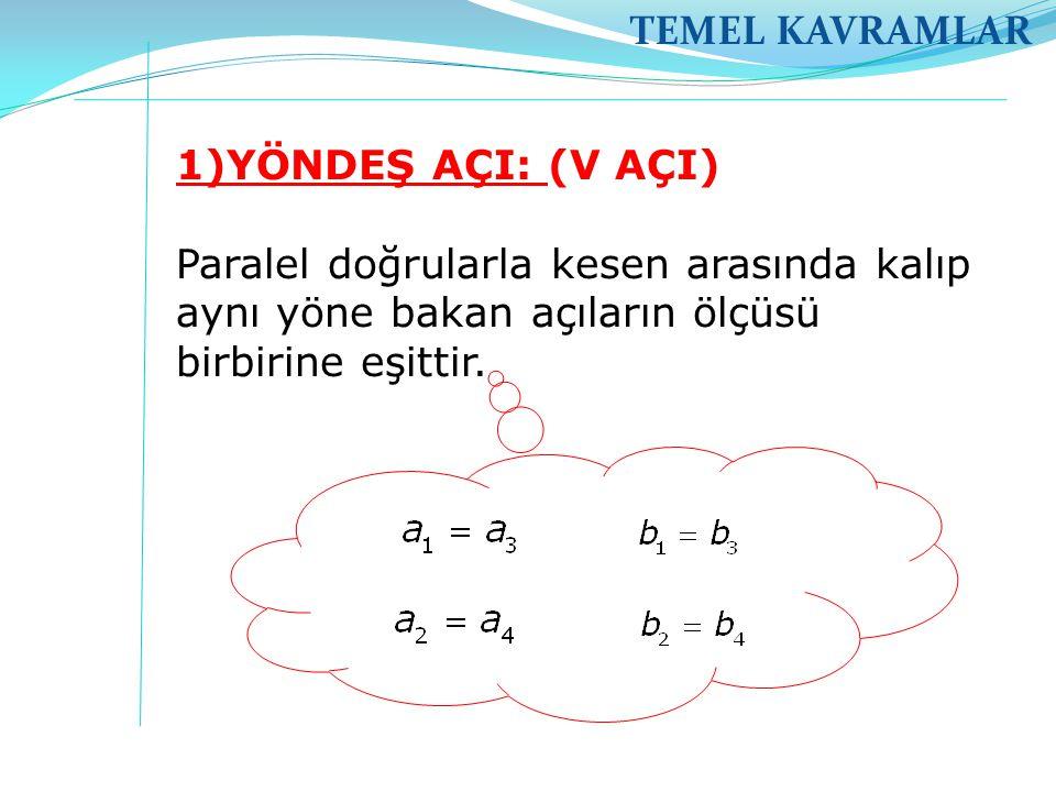 TEMEL KAVRAMLAR 1)YÖNDEŞ AÇI: (V AÇI) Paralel doğrularla kesen arasında kalıp aynı yöne bakan açıların ölçüsü birbirine eşittir.