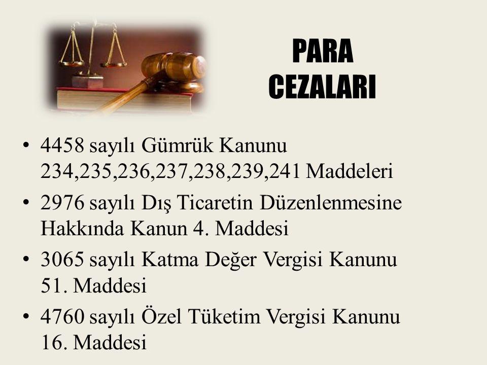 PARA CEZALARI 4458 sayılı Gümrük Kanunu 234,235,236,237,238,239,241 Maddeleri 2976 sayılı Dış Ticaretin Düzenlenmesine Hakkında Kanun 4. Maddesi 3065
