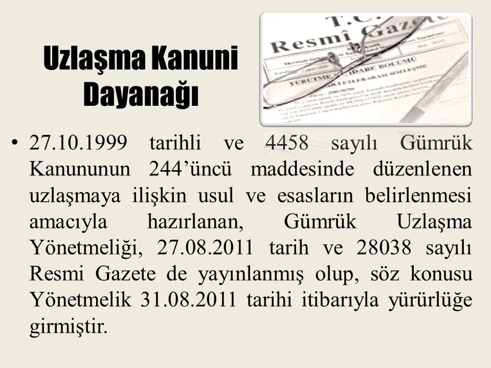 Uzlaşma Kanuni Dayanağı 27.10.1999 tarihli ve 4458 sayılı Gümrük Kanununun 244'üncü maddesinde düzenlenen uzlaşmaya ilişkin usul ve esasların belirlen