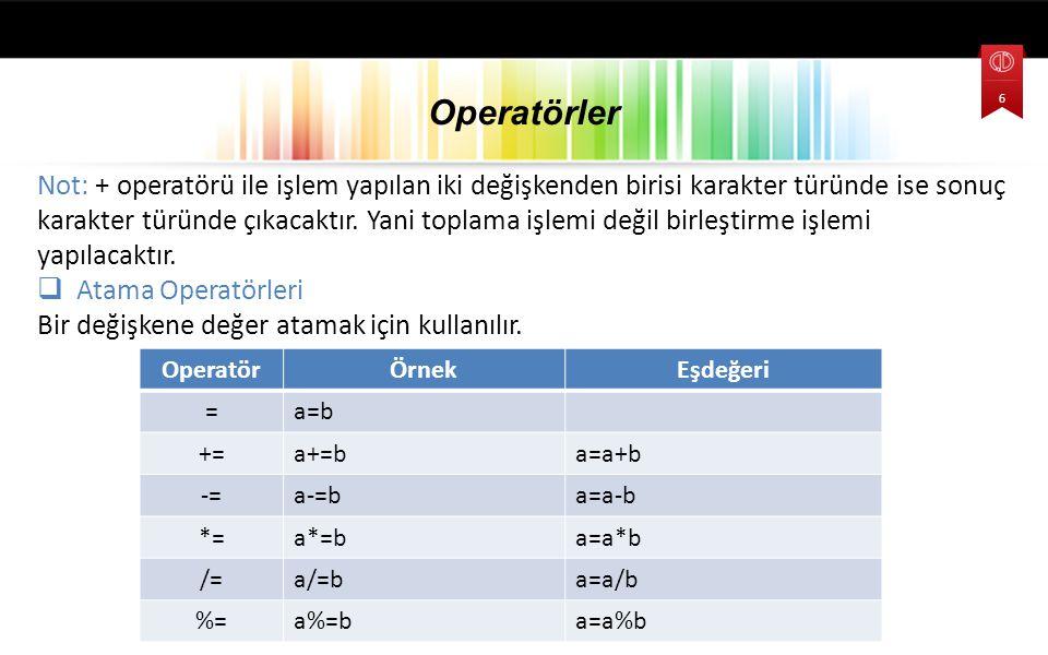 Not: + operatörü ile işlem yapılan iki değişkenden birisi karakter türünde ise sonuç karakter türünde çıkacaktır.
