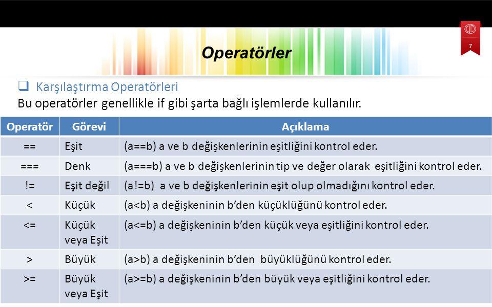  Karşılaştırma Operatörleri Bu operatörler genellikle if gibi şarta bağlı işlemlerde kullanılır.