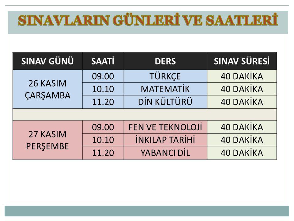 1.DÖNEM: 26-27 Kasım 2014 2.DÖNEM: 27-28 Nisan 2015 Tarihlerinde günde 3 sınav olmak üzere 2 günde ortak sınavlar yapılacaktır.