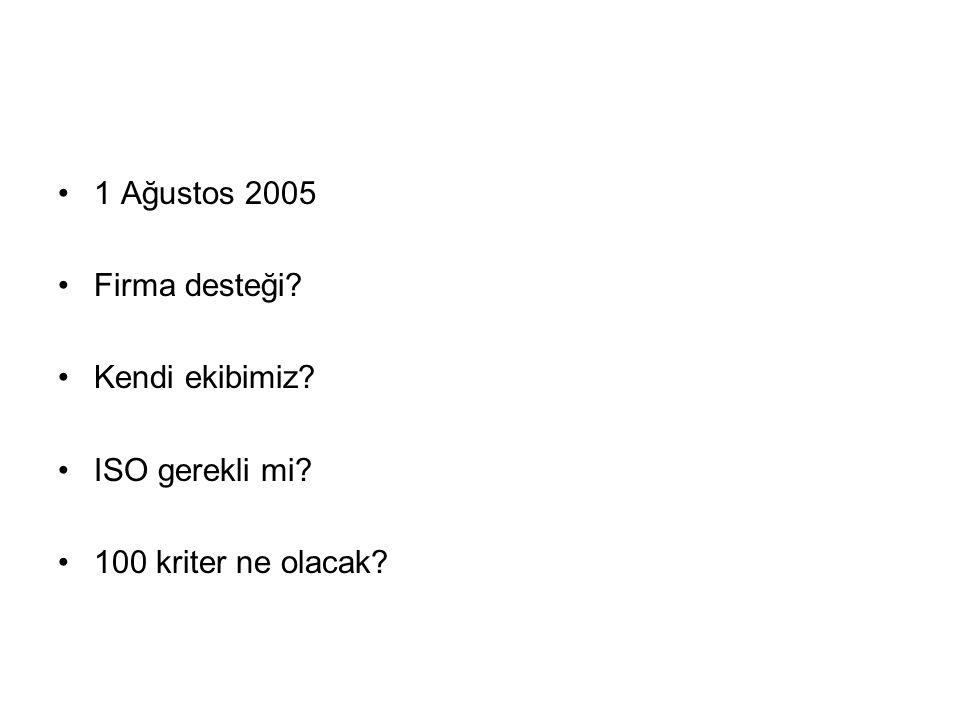 1 Ağustos 2005 Firma desteği? Kendi ekibimiz? ISO gerekli mi? 100 kriter ne olacak?