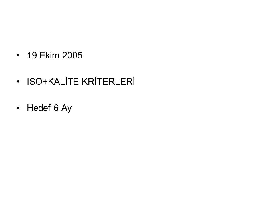 19 Ekim 2005 ISO+KALİTE KRİTERLERİ Hedef 6 Ay