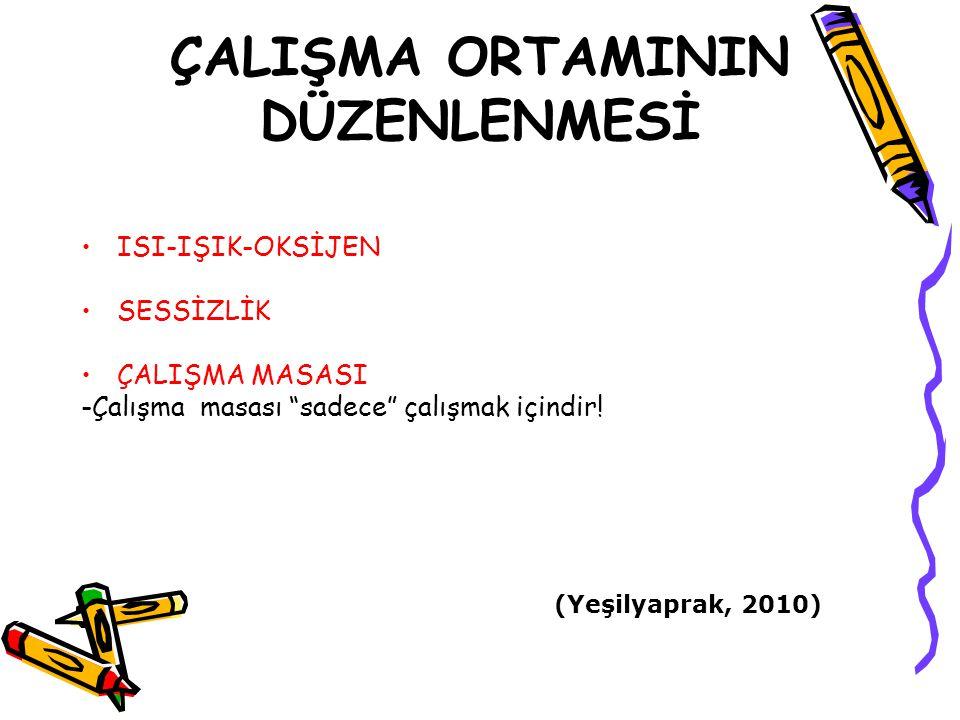 """ÇALIŞMA ORTAMININ DÜZENLENMESİ ISI-IŞIK-OKSİJEN SESSİZLİK ÇALIŞMA MASASI -Çalışma masası """"sadece"""" çalışmak içindir! (Yeşilyaprak, 2010)"""