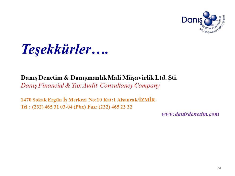 Teşekkürler….Danış Denetim & Danışmanlık Mali Müşavirlik Ltd.
