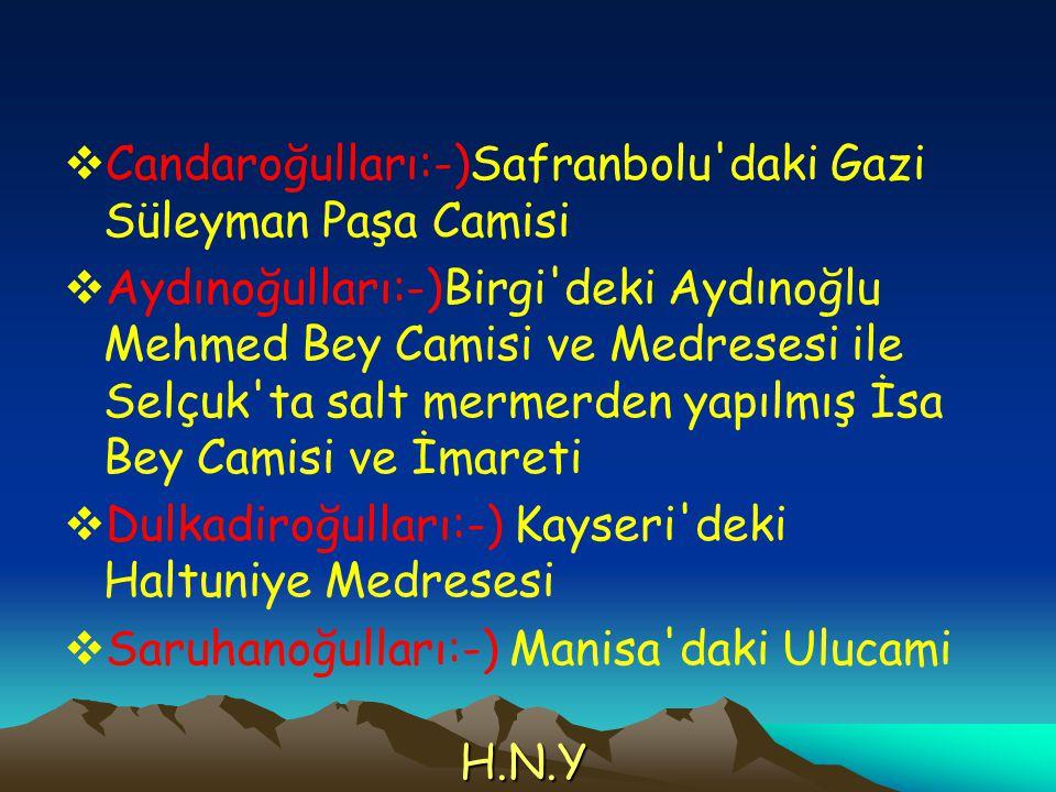  Candaroğulları:-)Safranbolu'daki Gazi Süleyman Paşa Camisi  Aydınoğulları:-)Birgi'deki Aydınoğlu Mehmed Bey Camisi ve Medresesi ile Selçuk'ta salt