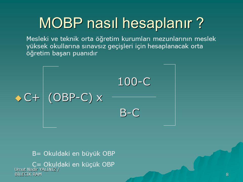 Umut Nadir YALINIZ / BİLECİK RAM8 MOBP nasıl hesaplanır ? 100-C 100-C  C+ (OBP-C) x B-C B-C B= Okuldaki en büyük OBP C= Okuldaki en küçük OBP Mesleki