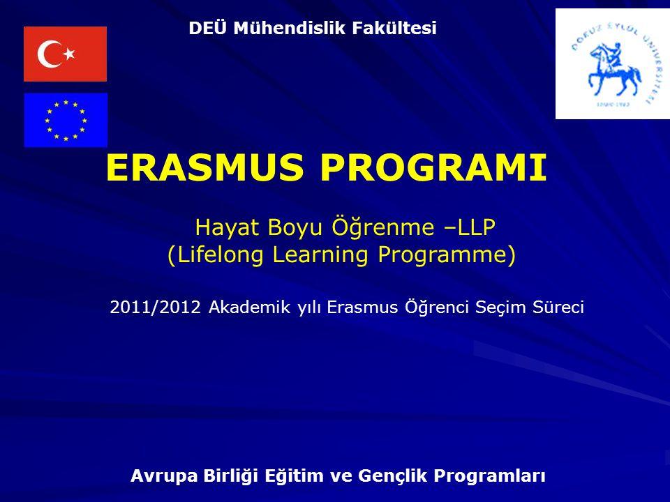 Hayat Boyu Öğrenme –LLP (Lifelong Learning Programme) ERASMUS PROGRAMI Avrupa Birliği Eğitim ve Gençlik Programları DEÜ Mühendislik Fakültesi 2011/2012 Akademik yılı Erasmus Öğrenci Seçim Süreci
